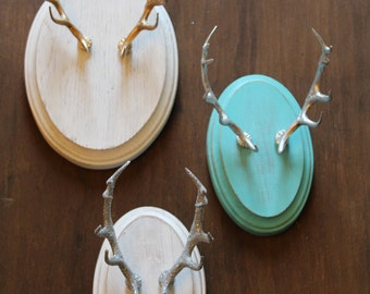 Turquoise & Silver Faux Taxidermy Elk Antler Mount