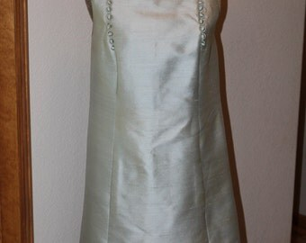 Vintage 1960s Mod Wool Sophisticated Miss By Frances Henaghan Silk Icy Blue Shift Dress Halloween Costume
