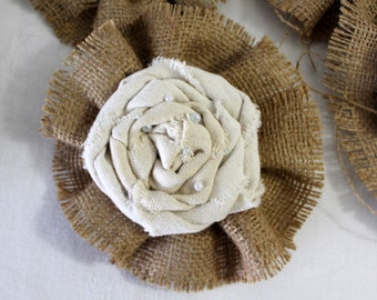 Set of 5 Linen and Burlap Flowers for Embellishment for Weddings Rustic Home Decor