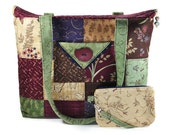 Large Quilted Tote Bag Patchwork Burgundy Navy Blue Green Tan Fall Flowers