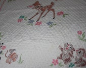 Vintage1977 Bambi and friends cross-stitch baby quilt