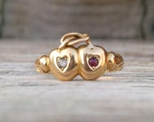 Victorian Valentine 18k Gold Double Heart Engagement Ring Love Knot 1800's Wedding Band