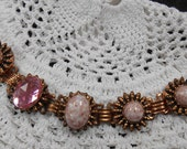 Vintage 50's Bakelite & Copper Pink Stone Bracelet
