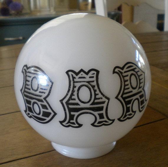 Vintage 6 Milk Glass Globe Shade Bar Lamp