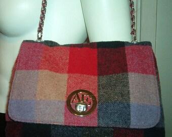 PLAID WOOL Handbag Shoulder Bag Vintage Ribbon Strap