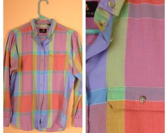 Pastel Rainbow Liz Claiborne Plaid Blouse 1990s S/M