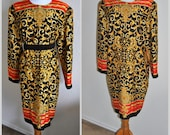 Vintage Baroque Silk Dress 90s Prints Pop Long Sleeve Red Gold Black Graphic Military Red Yellow Black   Size