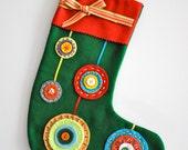 felt christmas stocking - 'ornaments'