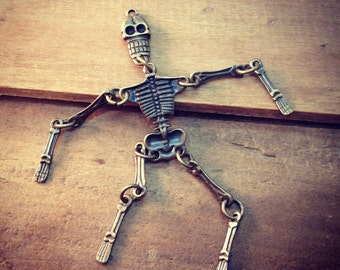 1 - Large Moveable Skeleton Pendant, HALLOWEEN, Antique Bronze, Mexican Skull, Vintage Jewelry Supplies, Scary Full Body Bones (BB096)