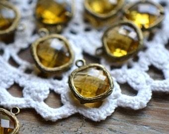 4 - Square Jewel Charms TOPAZ Drop Gem Jewels Square 12mm Yellow Amber (AW021)