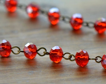 100cm Round Faceted Red Glass Bead Necklace Chain 6mm Glass Bead Antique Bronze Chain Jewelry Making Supplies (EC172)