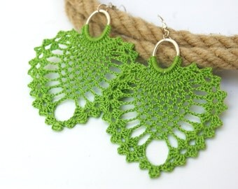Crochet earrings - Large crochet earrings - Crochet earring jewelry - Pistachio green- Textile jewelry -