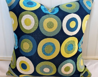 Blue, Green, Yellow and Creme Circle Pillow Cover / 18 X 18 / Designer upholstery same fabric on back