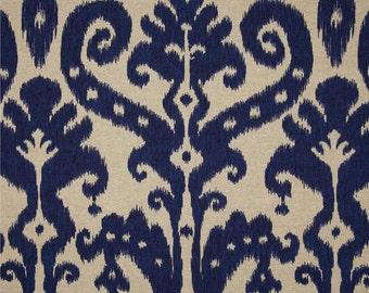 Blue and Ivory Ikat Curtain Panels / Custom Drapery in  Lacefield Marrakesh Batik Indigo