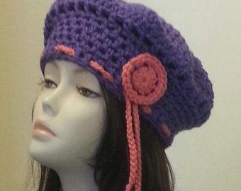 Crocheted Beret Hat, Boho Hat, Crochet Beret, Beret, Slouchy Beret Hat. FREE UK DELIVERY
