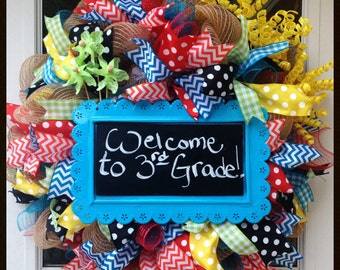 Birthday Wreath - School Weath  - Party Decor - Party Wreath - Classroom Wreath - Deco Mesh - Chalkboard Wreath - Custom Wreath - Kids Decor