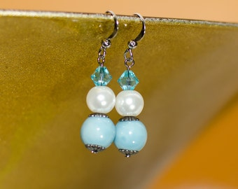 Aqua Porcelain Beads and Pearls Earrings