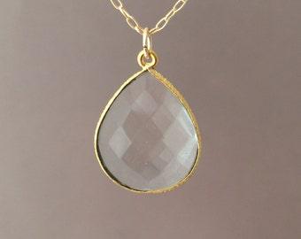 Gold Clear Quartz Teardrop Necklace Long or Short