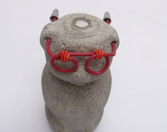 I can't see the future bear ! Concrete Honeybear w/ glasses, super magnet in its head  Four eyed Bear by blind bicyclist