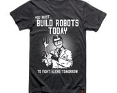 Build Robots Today - Geek funny robot T-shirt, Mens / Unisex Streetwear Charcoal