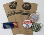 Beer Tasting Party Kit Beer Scorecards Bottle Openers Tasting Pencils Holiday Party Gift for Beer Drinker