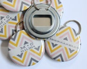 Chevron Wedding Favor Bottle Openers OR Buttons (Customizable)
