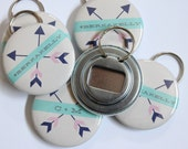 Arrow Wedding Favor Bottle Openers OR Buttons (Customizable)