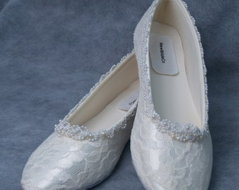 Brides Wedding Lace Flats Ivory or White B & W width, Pearl Trimming,Comfortable Wedding Shoe, Lace Bride, Wedding In Ivory, Victorian