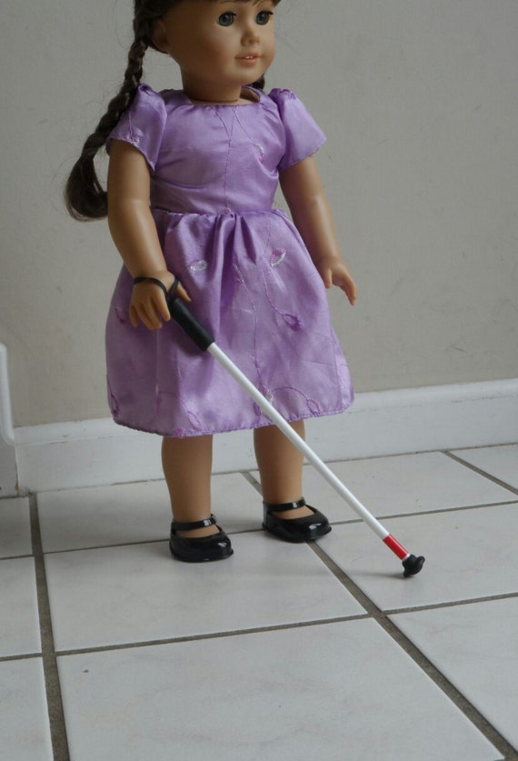 "Blind Cane for American Girl 18"" Doll Accessories for Vision Impaired Therapy Play Get Well Soon Gift Disabled"