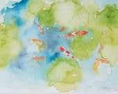 Koi fish in pond original watercolour painting 8 x 10 inches