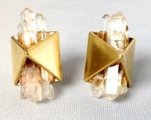 Crystal Pyramid Stud Earrings // Brass Pyramids set with Crystals