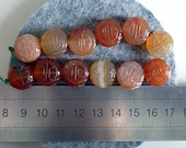 Bead, Carnelian, Semi Precious Stone, Coin Shape, Carved Beads
