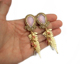 Soutache wedding or eavening earrings - elegant, classy and unusual - perfect for the Bride - Mystic leaves opal pink