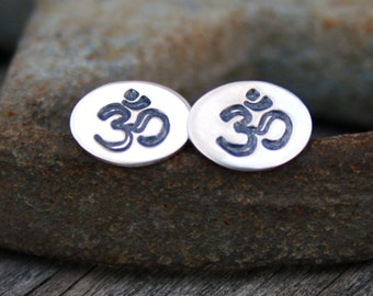 Sterling Silver Post Earrings - Namaste Ohm on Oval Studs