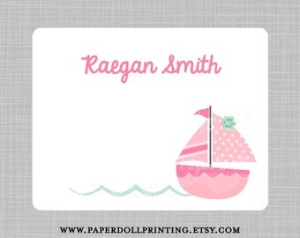 Pink Sail Boat with Waves Note Cards - Set of 12 Flat Note Cards - Corner Rounded - 4.25x5.5 inches - Design: Raegan