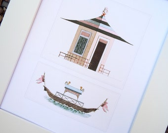 Pink Striped Pagoda & Junk Boat Architectural Drawing Archival Quality Print