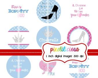 Bottle Cap Image Sheet - Instant Download - Cinderella 2 -  1 Inch Digital Collage - Buy 2 Get 1 Free