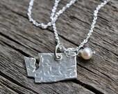 Washington State Jewlery. University of Washington State Necklace. Large Silver State Charm. PMC Jewelry.