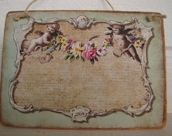 cherubs & roses swag, vintage French style postcard image on natural wooden tag with string hanger