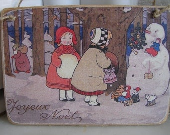 Joyeaux Noel, Children with snowman, Vintage French Christmas tree decoration, hanging wooden tag.