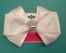 White Satin Bow with crown bling Centerpiece