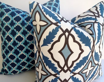 Premier Prints 20X20 Pillow Cover Home Decor Fabric-Blue-Off White-Brown-Pillow-Living Room Pillow