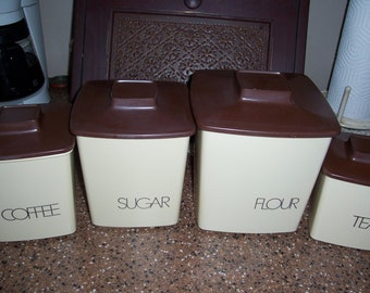 Vintage 1980's Style Plastic Canister Set...Tan and Brown...Ready to Use Condition...Clean...Nice Condition...