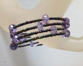 Lilac Crystal and Purple & Green Peacock Rocaille Glass Seed Bead Memory Wire cuff Fashion bracelet  Fashion Jewelry