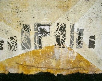 Mixed Media Collage acrylic modern abstract painting original wall art by Donna Sledge