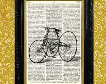 TRICYCLE PRINT Dictionary Page Art Print Recycled Vintage Book Page Art Print Upcycled Art Print