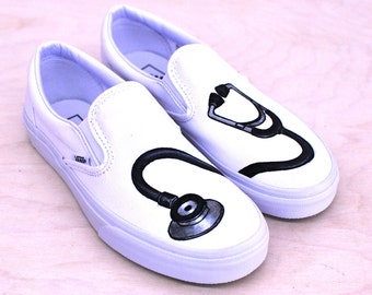 Hand Painted Stethoscope Slip on Vans for Doctors