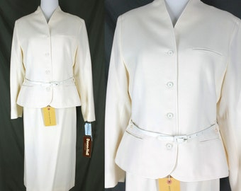 Vintage Wool 3 piece Suit Devon Hall Ivory Jacket and Skirt