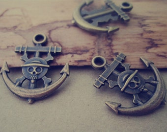 25pcs of  Antique bronze  anchor  charm pendant  19mmx22mm