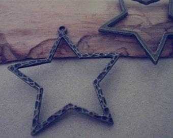 12pcs Antique bronze pentagram  charm Pendant 34mm